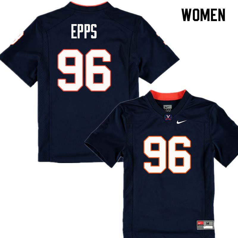 Women #96 CJ Epps Virginia Cavaliers College Football Jerseys Sale-Navy